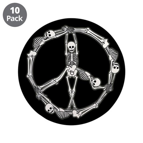"Peace Skeletons 3.5"" Button (10 pack)"