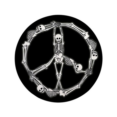 "Peace Skeletons 3.5"" Button (100 pack)"
