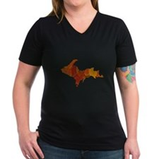 Autumn Leaves U.P. Women's V-Neck Dark T-Shirt