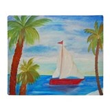Red Sailboat Throw Blanket from art