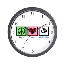 Peace Love Windsurfing Wall Clock