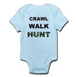 Crawl Walk Hunt  Baby Onesie