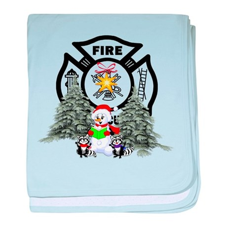 Firefighter Christmas baby blanket