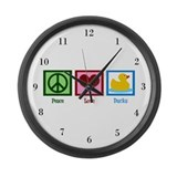 Peace Love Ducks Large Wall Clock