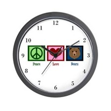 Peace Love Bears Wall Clock