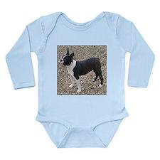 Boston Terrier Pup2 Long Sleeve Infant Bodysuit
