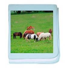 Mini Horses in Pasture baby blanket