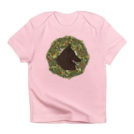 Belgian Tervuren Xmas Wreath Infant T-Shirt