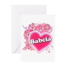 Babcia Heart Art Greeting Card