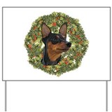 Miniature Pinscher Xmas Wreath Yard Sign