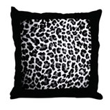 Black & White Leopard Print Throw Pillow