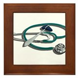 Medical Hammer Stethoscope Framed Tile