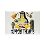 Support The Arts Cute Penguin Rectangle Magnet