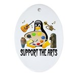 Support The Arts Cute Penguin Ornament (Oval)