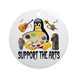 Support The Arts Cute Penguin Ornament (Round)