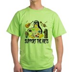 Support The Arts Cute Penguin Green T-Shirt
