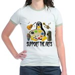 Support The Arts Cute Penguin Jr. Ringer T-Shirt