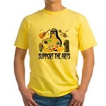 Support The Arts Cute Penguin Yellow T-Shirt