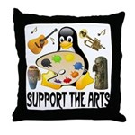 Support The Arts Cute Penguin Throw Pillow