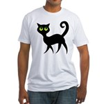 Cat With Green Eyes Fitted T-Shirt