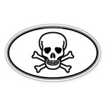 Skull & Crossbones Oval Sticker (Oval 10 pk)
