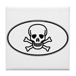 Skull & Crossbones Oval Tile Coaster
