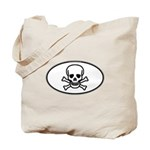 Skull & Crossbones Oval Tote Bag