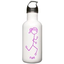 Pink Running Girl w/ Words Sports Water Bottle