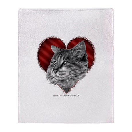 Maine Coon Valentine Throw Blanket