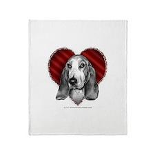 Basset Hound Valentine Throw Blanket