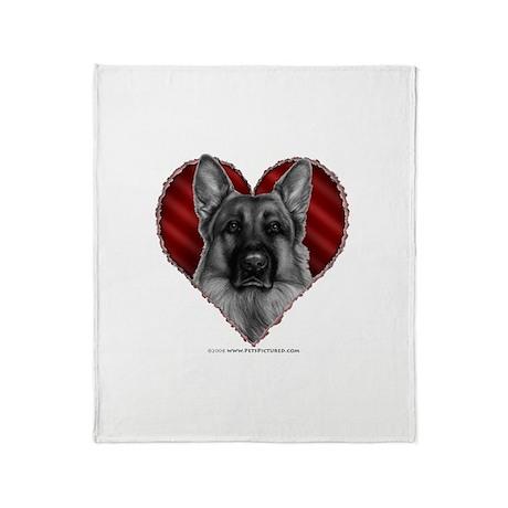 German Shepherd K9 Valentine Throw Blanket