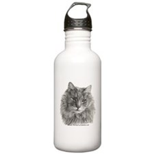 TG, Long-Haired Gray Cat Water Bottle