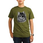 Long-Haired Gray Cat Organic Men's T-Shirt (dark)