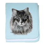 Long-Haired Gray Cat baby blanket