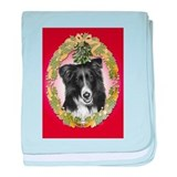 Border Collie Christmas baby blanket