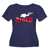 Diver Women's Plus Size Scoop Neck Dark T-Shirt