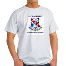 DUI - 1st Bn - 327th Infantry Regt with Text T-Shirt
