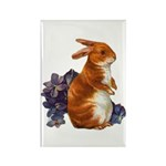 Sitting Rabbit with Flowers Rectangle Magnet (10 p