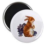 Sitting Rabbit with Flowers Magnet