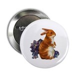 Sitting Rabbit with Flowers Button