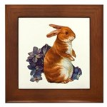 Sitting Rabbit with Flowers Framed Tile