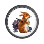 Sitting Rabbit with Flowers Wall Clock