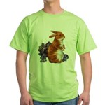 Sitting Rabbit with Flowers (Front) Green T-Shirt