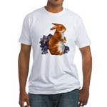 Sitting Rabbit with Flowers Fitted T-Shirt