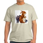 Sitting Rabbit with Flowers Ash Grey T-Shirt