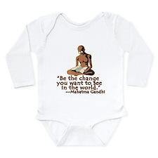 Cute Ghandi quote Long Sleeve Infant Bodysuit