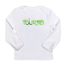Paris w Eiffel Tower Long Sleeve Infant T-Shirt