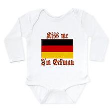 Kiss Me I'm German Long Sleeve Infant Bodysuit