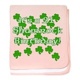 21 Shamrock Birthday baby blanket