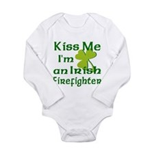 Kiss Me Irish Firefighter Long Sleeve Infant Bodys
